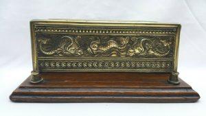 Antique William Tonks & Sons double sided brass letter rack, oak plinth Rd. 1895
