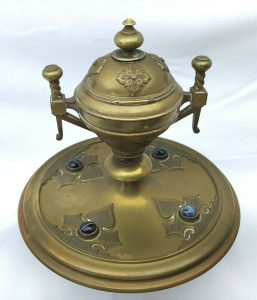 Victorian Gothic inkwell, brass gilt with ceramic liner