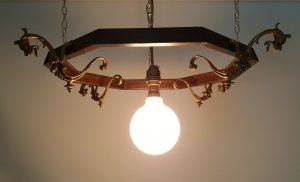 Antique French ormolu griffin mounts, gilt bronze mounts with hanging octagonal oak frame.