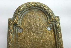 19th century French chateau brass door pull & finger plate