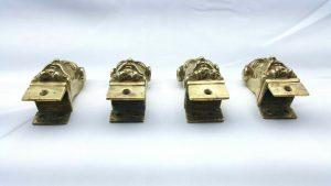 Antique ormolu faun / satyr head mounts, set of 4 cast gilt brass fittings, 19th century French style ormolu mounts, mythical creature shape