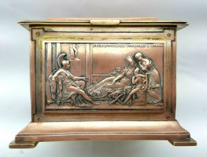 19th Century French copper casket with classical scene panels and gilt brass alloy, Greek scenes, tea caddy, trinket box, jewellery box