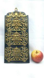 Antique hanging triple slot ormolu letter rack - James Cartland & Son Birmingham