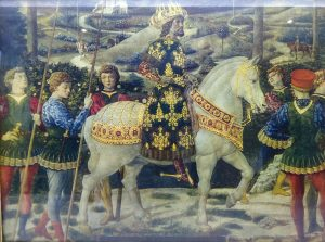 Vintage prints ~ details from The Journey of The Magi by Benozzo Gozzoli (1420-1497) Italian Renaissance fresco artist. Gold painted frames