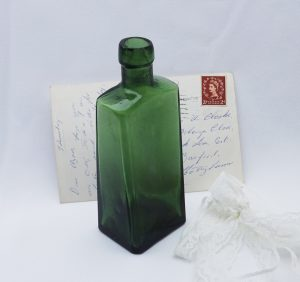 Antique wedge shaped olive green bottle, scarce antique bottle unusual shape, chamfered edges, interesting indented base