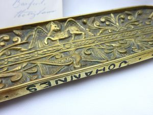 Victorian brass pen tray by William Tonks and Sons W.T.& S. Reg no 80324 date 1887, 19th century ornate embossed Apostle desk tidy pen tidy