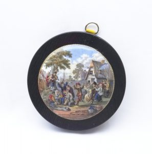 Antique Prattware pot lid, The Village Wedding, framed Victorian transfer printed earthenware pot lid, black painted wooden frame, Teniers