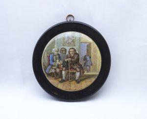 Antique Prattware pot lid, Dr. Johnson, framed Victorian transfer printed earthenware pot lid