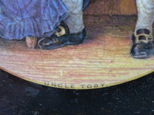 Antique Prattware pot lid, Uncle Toby, framed Victorian transfer printed earthenware pot lid