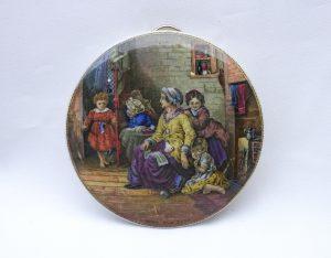 Antique Prattware pot lid, Hide and Seek, Victorian transfer printed earthenware pot lid