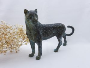 Antique brass leopard figurine, large patinated brass African big cat, cheetah, 8.5 inches long, verdigris bronze colour leopard ornament
