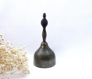 Victorian hand bell, bronze handle, spun brass, ebony beehive detail, maid's bell, table bell, butler bell, servant's bell, loud long ring