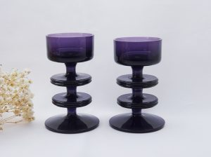 Vintage Wedgwood amethyst glass candlesticks, Sheringham, Ronald Stennett-Wilson purple glass candle holders