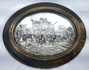 Victorian silver plated plaque, antique 19th Century framed silver plate scene with domed glass, possibly of Dutch origin