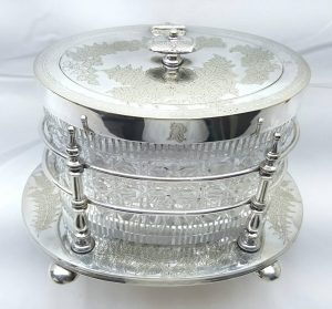 Silver plated biscuit barrel, Victorian silver plate & cut glass biscuit barrel