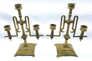 Victorian brass candelabra, early Arts & Crafts movement circa 1870 candlesticks, 3 light / 3 arm 19th Century brass candelabra