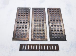 Antique brass vents, wall grills, cupboard vents, 3 grills 10 x 4 in with wire mesh, one 9 x 1.5 in, architectural salvage, reclaimed vents