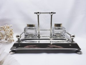 Victorian silver plated inkstand, William Hutton & Sons, 1870-1893, Christopher Dresser style, cut glass ink wells