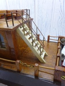 Vintage scratch built wooden paddle steamer boat model, steamer ferry, pleasure cruise boat. Home made boat, steampunk display, steam boat