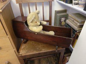 Antique folk art wooden doll's crib, Victorian primitive rocking doll's cradle, stained pine wood crib, children's toy crib, nursery decor