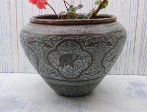 Antique Indian brass jardiniere, repoussé Indian brass planter, vase, elephants, lions, verdigris brass plant pot