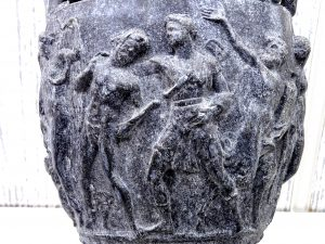 Antique Townley Vase alloy reproduction Grecian style urn, Roman urn depicting Hellenistic scenes of Pan, Bacchus the wine god and followers