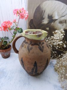 Antique painted terracotta jug, yellow slip glazed rim, glazed interior, possibly French or North African, rustic pottery pitcher, water jug