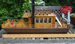 Vintage Scratch Built Paddle Steamer Model