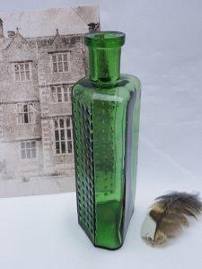 Victorian green Not To Be Taken hobnailed poison bottle, 4 ounce Practical Poison Bottle, 4 oz flat back irregular hexagon, hobnail NTBT