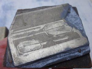 Antique printing blocks, set of 16 etched copper plate printing blocks from the 1930's of vanity products - Ladye Jayne slumber helmet etc