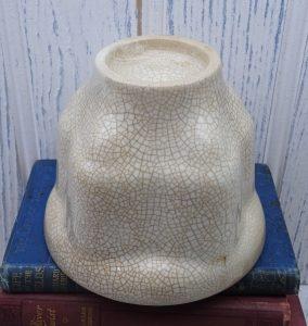 Victorian jelly mould, crazed glaze. Antique ironstone, pottery jelly mold, blancmange mold. Kitchenalia, ceramic round cathedral jelly mold