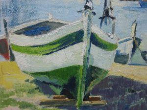 Antique oil on canvas impressionist painting of boats on a beach with mountains, original painting, Dr Fr Schoenfeld & Co canvas mount