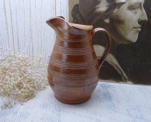 Vintage French pottery jug, large salt glazed stoneware wine pitcher, size 3, cider jug, water ewer, vase