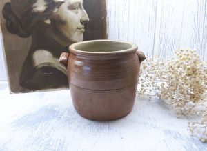 Vintage French large stoneware confit pot, size 3 salt glazed grease pot, French sandstone rillettes jar with side handles, planter, storage