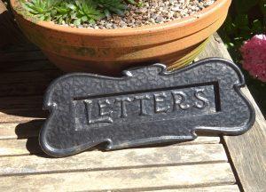 Art Nouveau cast iron letterplate / letter slot / letter flap. Edwardian door furniture, 1905, antique mail flap, mail slot, letter plate