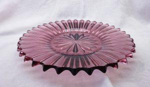 Vintage amethyst glass platter, large cut glass serving plate, purple glass serving platter, vintage mauve glass fruit bowl, retro glassware