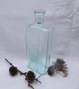 Antique rare aqua bottle embossed 'George Harvie & Son Chemists, Helensburgh', Victorian medicine bottle, Scottish pharmacy bottle c 1890's