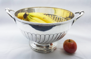 Victorian silver plated punch bowl by Henry Hodson Plante, large fruit or rose bowl, 19th Century gadrooned bowl with handles.