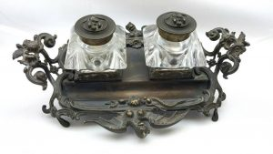 Gothic inkwell stand, 19th Century brass desk accessory, Victorian ink desk stand featuring bats with breasts