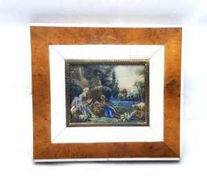 Vintage miniature painting, ormolu mount & burr walnut frame, classical Georgian style picture signed by the artist, 18th Century style