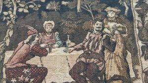 Antique tapestry 16th Century style symmetrical square throw with musical and dancing scenes
