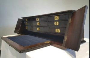 Late Victorian Campaign desk top secretaire, antique portable table top or desk top bureau secretaire writing desk, fitted with nine drawers