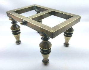 Victorian brass trivet antique 19th Century brass stand with baluster style legs, saucepan stand, food warmer, flat iron stand, pot stand