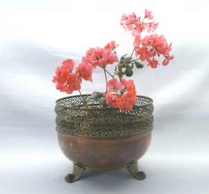 Antique copper & brass jardiniere, an unusual vintage round planter with reticulated twin band pierced top and three scroll feet