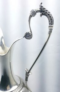 Solid silver ewer by Julius Lemor, classic pitcher German 476g, Sterling George III style pitcher jug