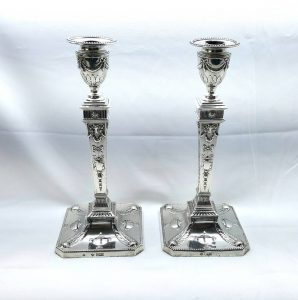 "Silver Adam candlesticks 1903, 30cm pair of Edwardian neoclassical Adam style 12"" sterling solid silver urn candle sticks Martin Hall & Co"