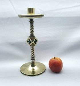 Antique brass candlestick by William Tonks and Sons, 19th Century quatrefoil ecclesiastical WT&S Victorian nine inch tall candlestick