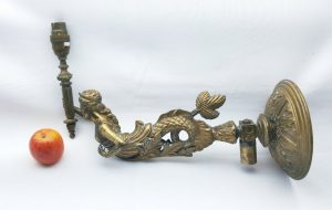 Antique ormolu mermaid wall gas sconce, wall sconce ideal conversion electricity