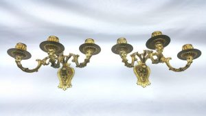 Pair ormolu wall candle sconces, 3 arm gilt brass decorative lights French style decorative lights