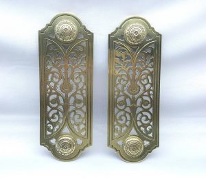 Pair William Tonks & sons brass finger plates, unusual Victorian type, W.TandS door furniture, salvaged door plates, architectural salvage